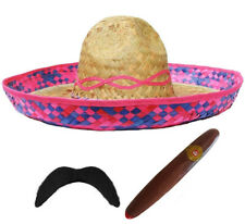 PINK MEXICAN SOMBRERO STRAW HAT ADD MOUSTACHE CIGAR BANDIT FANCY DRESS COSTUME