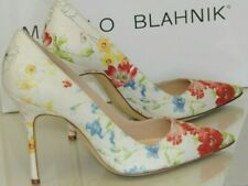New MANOLO BLAHNIK BB 105 Flower Floral Red Blue Cream Shoes 35 36.5 37.5 39 40