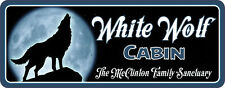 White Wolf Cabin Custom Welcome Sign, Howling Wolf and Moon, Camping Sign C1064