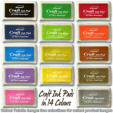 Rubber Stamps Craft  Ink Pad for Paper Wood Fabric 14 Colours UK