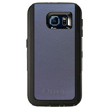 CUSTOM OtterBox Defender Case for Galaxy S5 S6 S7 Dark Grey Leather Texture