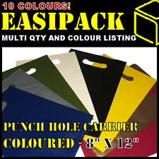 """Coloured 'PUNCH HOLE HANDLE' 8"""" x 12""""  carrier boutique party bags -50mu (200G)"""