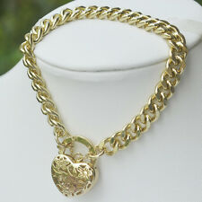 """9K Yellow Gold Filled Bracelet Thick Euro Chain With Heart Locket """"Stamp 9K"""""""