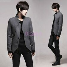 Mens casual Slim Fit Jacket Blazer Coats Wool Blend Two Button Autumn Chic Korea