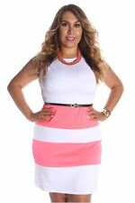 121AVENUE Lovely Fit and Flare Striped Dress 1X 2X 3X Women Plus Size Pink