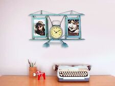 Distressed Tin Metal Vintage Plane Clock w/ Photo Frame Hanging Wall Home Decor