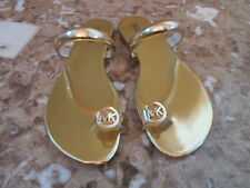 Michael Kors Nora Toe Thong Gold Leather NWOB FREE SHIPPING
