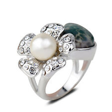 18K White Gold Plated Green Jade Pearl Flower Finger Ring Jewelry CZ Rhinestone