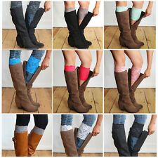 New Stretch Lace Boot Cuffs Flower Leg Warmers Lace Trim Toppers Socks TOP