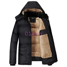 Men Warm Fur Lined Hooded Casual Puffer Cotton Fleece Jacket Trench Winter Coats