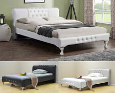 Modern Designer Bed Frame White Black Silver Faux Leather Double King Size