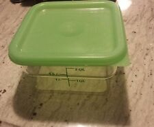 CAMBRO SFC2 CLEAR POLY 2 QT CAMSQUARE CONTAINER AND LID GREEN NICE!