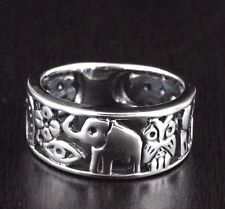 Womens 925 Sterling Silver Vintage Style Luck Elephant Horseshoe Owl Luck Ring