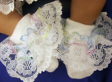 DREAM  BABY PASTEL LACE  ROMANY FRILLY SOCKS ALL SIZES AVAILABLE OR REBORN DOLLS