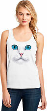 Fluffy White Kitty Cat Tank Top Big Blue Eyes Pink Nose Womens Size Small to 3XL