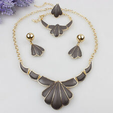 Fashion Women Statement Jewelry Sets Gold Plated Necklace Earrings Bracelet Ring