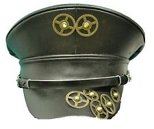Steampunk leather look military style hat with copper cog detail