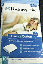 """SEALY"" POSTUREPEDIC 2 PK.LUXURY COTTON  ZIPPERED PILLOW ENCASEMENT - S/Q"
