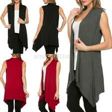 Women Lady Open Front Vest Long Tunic Shawl Collar Draped Cardigan Tops S/M/L/XL
