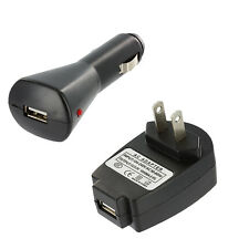 USB 1 Amp Black Car Charger Adapter+Wall Home Travel Charger for Cell Phones