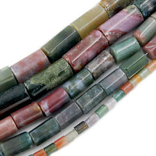 "Natural Colorful Indian Agate Column Beads 15.5"" Pick Size"