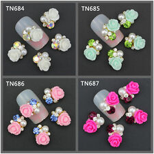 3D Clear Alloy Rhinestone Pearl Flower Nail Art Slices DIY Decorations 10pcs