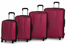 Lightweight Trolley Hard shell 4 Wheels Travel Luggage Suitcases Cerise/ Pink