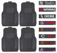 Set of 4 New MLB Baseball Themed Ribbed Vinyl Car Floor Mats Carpet Liner Rugs