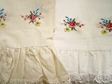 Shabby Rose Valance or Curtain Tiers Embroidery Cross Stitch Ivory White Cottage