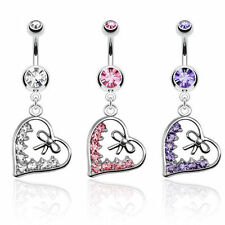 Heart Dangle with multi CZ and Bow 316L Surgical Steel Navel Ring
