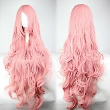 New Fashion 100cm Long Pink Curly Vocaloid Megurine Luka Cosplay Party Full Wig