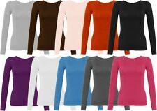 Women Ladies New Plain Long Sleeve Top T-Shirt Girl Stretch Scoop Neck Size 6-22