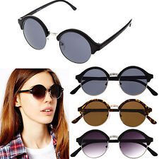 Women's Vintage Inspired Classic Half Frame Semi-Rimless Round Circle Sunglasses