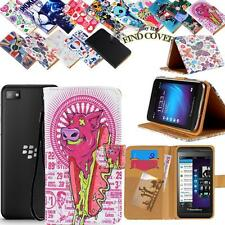 Folio Stand Card Wallet Leather Cover Case For Various BlackBerry Mobile Phones