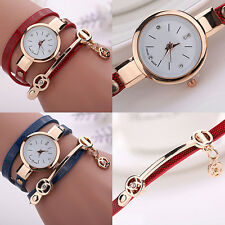 Womens Hot Stylish Slim Faux Leather Band Analog Crystal Dial Quartz Wrist Watch