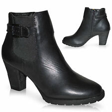 WOMENS LADIES HIGH HEEL BLOCK PLATFORM CHELSEA ANKLE SHOES BOOTS BOOTIES SIZE UK