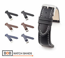 Mens Classic Calf Leather Watch Band/Strap, 18, 20, 22, 24 mm, 3 colors, new!