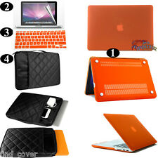 Orange Rubberized Hard Case Carrying Sleeve Bag Keyboard Cover For Apple Macbook