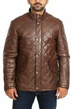 Mens REAL Leather BROWN Anorak Jacket Black Fitted Padded Quilted Winter Coat