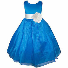 ORGANZA GIRL DRESS FLOWER CUTE PRINCESS BLUE WEDDING BRIDESMAID BRIDAL BIRTHDAY