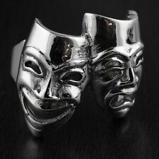 Solid 925 Sterling Silver Mask Comedy Tragedy Smile Now Cry Later Life Face Ring