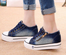 Lace Up Womens Sneakers Platform Wedge Heels Denim Casuals Side Zip Canvas Shoes