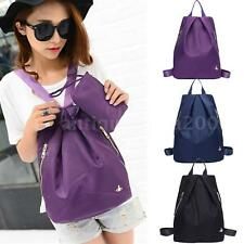 Women Unisex Backpack Nylon Zippers Girl Schoolbag Rucksack Students Travel 6VF4