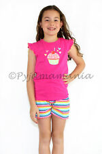 Pyjamas Girls Summer Short (sz 3-7) Pjs Set Pink Cupcake Stripes Sz 3 4 5 6 7