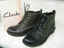 Clarks Ankle Boots Nailsea North Black Or Brown Leather Lace Up & Zip Casual