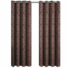 Set of Two Chocolate Blair 100% Polyester Jacquard Grommet-Top Curtain Panels