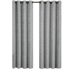 Gray Jacquard Grommet Top Curtain Panel Fiorela  (each)