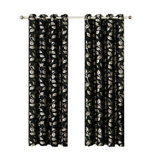 Black Jacquard Grommet-Top Charlotte Set of 2 Window Curtain Panels