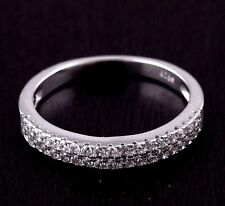 Womens Solid 925 Sterling Silver CZ Micro Pave Wedding Engagement Band Ring 3mm