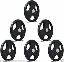 """2"""" TNP Rubber Encased Tri Grip OLYMPIC Weight Disc Plates & Barbell Set range"""